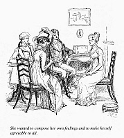 0093703 © Granger - Historical Picture ArchiveAUSTEN: PRIDE & PREJUDICE.   Elizabeth Bennet entertaining Mr. Darcy, his sister, and Mr. Bingley. Illustration by Hugh Thomson for an 1894 edition of Jane Austen's novel 'Pride and Prejudice,' first published in 1813.