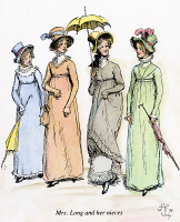 0095009 © Granger - Historical Picture ArchiveAUSTEN: PRIDE & PREJUDICE.   Mrs. Long and her nieces. Illustration by Hugh Thomson for an 1894 edition of Jane Austen's novel 'Pride and Prejudice,' first published in 1813.