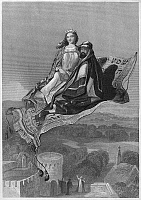 0096443 © Granger - Historical Picture ArchiveARABIAN NIGHTS: CARPET.   The magic flying carpet of Solomon. Steel engraving, American, c1850.