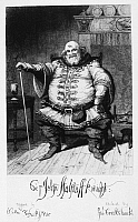 0109569 © Granger - Historical Picture ArchiveCRUIKSHANK: FALSTAFF.  The character of Falstaff from William Shakespeare's 'The Merry Wives of Windsor.' Etching, 19th century, by George Cruikshank.