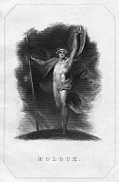0266400 © Granger - Historical Picture ArchiveMILTON: PARADISE LOST.   The fallen angel Moloch in John Milton's 'Paradise Lost.' Steel engraving, American, 1844.