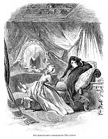 0267697 © Granger - Historical Picture ArchiveALCOTT: ENIGMAS, 1864.   'The Eavesdropper watching the Two Sisters.' Engraved illustration for the story, 'Engigmas', by Louisa May Alcott, published in an American newspaper, 1864.