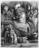 0324659 © Granger - Historical Picture ArchiveRABELAIS: GARGANTUA.   At Gargantua's Parisian meals, four men shovel mustard into his mouth (I, 21). Wood engraving, 1873, after Gustave Doré for 'Gargantua and Pantagruel' by François Rabelais.