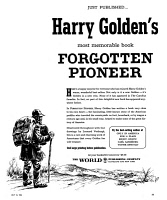 0353151 © Granger - Historical Picture ArchiveADVERTISEMENT: BOOK, 1963.   American magazine advertisement for Harry Golden's book, 'Forgotten Pioneer,' 1963.