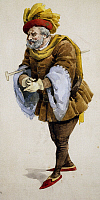 0363396 © Granger - Historical Picture ArchiveLITERATURE.   Costume sketch by Adolf Hohenstein (1854-1928) for the premiere of the opera Falstaff, by Giuseppe Verdi (1813-1901), performed at La Scala Theatre in Milan, February 9, 1893. Full Credit: De Agostini Picture Library / Granger, NYC -- All Rights Reserved.