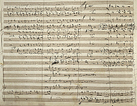 0363421 © Granger - Historical Picture ArchiveLITERATURE.   Handwritten sheet music for the final fugue Tutto nel mondo e' burla (All in the world is a jest) in the third act of the opera Falstaff, Giuseppe Verdi (1813-1901). Full Credit: De Agostini Picture Library / Granger, NYC -- All Rights Reserved.