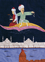 0363476 © Granger - Historical Picture ArchiveLITERATURE.   Aladdin or The magic lamp, magic carpet above Istanbul and Galata tower, miniature from The thousand and one nights, Ottoman manuscript. Turkey, 19th century. Full Credit: De Agostini / G. Dagli Orti / Granger, NYC -- All righ