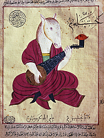 0363478 © Granger - Historical Picture ArchiveLITERATURE.   Adventures of the horse musician, miniature from Fables of Bidpai, Ottoman manuscript. Turkey, 19th century. Full Credit: De Agostini / G. Dagli Orti / Granger, NYC -- All Rights Reserved.