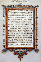 0363537 © Granger - Historical Picture ArchiveLITERATURE.   Cicero's Philippics (oratorical attacks), illuminated manuscript for King Ferdinand I of Naples. 15th century Italian manuscript. Full Credit: De Agostini Picture Library / Granger, NYC -- All rights reserved.