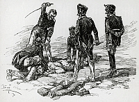 0363634 © Granger - Historical Picture ArchiveLITERATURE.   Two soldiers held him firmly down and two others waving flexible rods in the air struck his stripped back, at regular intervals,Volume I, Part II, Chapter XV, War and Peace, by Leo Tolstoy (1828-1910). Illustration by Apsit. Moscow edition, 1912. Full Credit: De Agostini Picture Library / Granger, NYC -- All rights reserved.