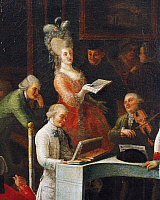 0363836 © Granger - Historical Picture ArchiveLITERATURE.   A concert by Domenico Cimarosa (1749-1801), painting by Gaspare Vizzini. Detail. Full Credit: De Agostini / A. Dagli Orti / Granger, NYC -- All rights reserved.