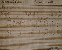 0363987 © Granger - Historical Picture ArchiveLITERATURE.   Autograph sheet music of the Serenata a tre voci (Serenade for three voices), by Benedetto Marcello (1686-1739). Full Credit: De Agostini / A. Dagli Orti / Granger, NYC -- All Rights Reserved.