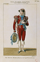 0364155 © Granger - Historical Picture ArchiveLITERATURE.   Costume sketch for Figaro in Il Barbiere di Siviglia (The Barber of Seville), opera by Gioachino Rossini, Gabriele Santini (1886-1964) director, performed at the Theatre des Italiens, Paris, 1826. Full Credit: De Agostini Picture Library / Granger, NYC -- All rights reserved.