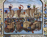 0364272 © Granger - Historical Picture ArchiveLITERATURE.   Hundred years war, Sluis naval battle, fought between the French and British on June 24, 1340, miniature from Froissart's Chronicles, by Jean Froissart (ca 1337-ca 1405), manuscript fr 2643, folio 82, facsimile. France, 15th century. Full Credit: De Agostini Picture Library / Granger, NYC -- All Rights Reserved.