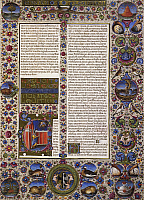 0364306 © Granger - Historical Picture ArchiveLITERATURE.   The book of Leviticus, the first volume of the Bible of Borso d'Este, illuminated by Taddeo Crivelli (1425-1479) and other authors, Latin manuscript 422-423, folio 44, recto, parchment, 1455-1461. Italy, 15th century. Full Credit: De Agostini / A. Dagli Orti / Granger, NYC -- All right