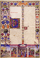 0364344 © Granger - Historical Picture ArchiveLITERATURE.   The Book of Ecclesiastes, from Volume I of the Bible of Borso d'Este, illuminated by Taddeo Crivelli (1425-1479) and others, Latin manuscript 422-423, folio 280, recto, parchment, 1455-1461. Italy, 15th century. Full Credit: De Agostini / A. Dagli Orti / Granger, NYC -- All rights rese