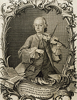 0364704 © Granger - Historical Picture ArchiveLITERATURE.   Portrait of Leopold Mozart (Augusta, 1719-Salzburg, 1787), German violinist and composer, father of Wolfgang Amadeus Mozart. Engraving by Andreas Fridrich Jacobs (1684-1751). Full Credit: De Agostini / A. Dagli Orti / Granger, NYC -- All Rights Reserved.