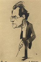 0365004 © Granger - Historical Picture ArchiveLITERATURE.   Caricature of Gustav Mahler (Kalischt, 1860-Vienna, 1911), Austrian conductor and composer of Bohemian origin. Full Credit: De Agostini / A. Dagli Orti / Granger, NYC -- All Rights Reserved.
