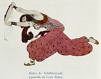 0365118 © Granger - Historical Picture ArchiveLITERATURE.   Illustration by Leon Bask (1866-1924) depicting an almea (Arabic dancer) for Scheherazade, symphonic suite composed by Nikolai Andreyevich Rimsky-Korsakov (1844-1908). Full Credit: De Agostini / G. Dagli Orti / Granger, NYC -- All Rights Reserved.