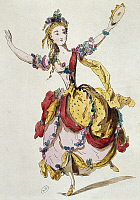 0365327 © Granger - Historical Picture ArchiveLITERATURE.   Sketch of the stage costume of Mademoiselle Allard in Fetes Lyriques, ballet with music, by Jean-Philippe Rameau (1683-1764). Full Credit: De Agostini / G. Dagli Orti / Granger, NYC -- All rights reserved.