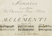 0365371 © Granger - Historical Picture ArchiveLITERATURE.   Title page of Sonata for four hands, by Muzio Clementi (1752-1832). Full Credit: De Agostini / A. Dagli Orti / Granger, NYC -- All rights reserved.