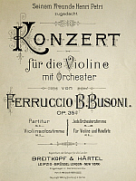 0365442 © Granger - Historical Picture ArchiveLITERATURE.   Title page of the Concert for violin op 35, by Ferruccio Busoni (1866-1924). Full Credit: De Agostini / A. Dagli Orti / Granger, NYC -- All rights reserved.
