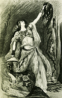 0365567 © Granger - Historical Picture ArchiveLITERATURE.   Title page of Samson and Delilah, 1877, by Charles Camille Saint-Saens (1835-1921). Illustration by Clairen. Full Credit: De Agostini Picture Library / Granger, NYC -- All Rights Reserved.