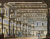 0366206 © Granger - Historical Picture ArchiveLITERATURE.   Set design by Alessandro Sanquirico (1777-1849) depicting Filippo's apartments for the opera Bianca and Fernando, by Vincenzo Bellini, performed at La Scala Theatre in Milan, September 5, 1829. Full Credit: De Agostini / A. Dagli Orti / Granger, NYC -- All rights reserved.