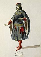 0366402 © Granger - Historical Picture ArchiveLITERATURE.   Costume sketch for the role of Fernando in the opera La Favorite (The Favourite), 1840, by Gaetano Donizetti (1797-1848), performed at the Teatro alla Cannobiana, Milan, 1855. Full Credit: De Agostini / A. Dagli Orti / Granger, NYC -- All Rights Reserved.