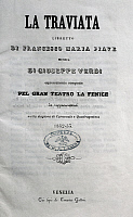 0366878 © Granger - Historical Picture ArchiveLITERATURE.   Libretto for the premiere of La Traviata, opera by Giuseppe Verdi (1813-1901),  performed at La Fenice Theatre in Venice, March 6, 1853. Full Credit: De Agostini Picture Library / Granger, NYC -- All rights reserved.