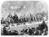 0370549 © Granger - Historical Picture ArchiveROYAL LITERARY FUND, 1872.   Dinner reception of the Royal Literary Fund in England, with King Leopold II of Belgium standing at the chair. Wood engraving, English, 1872.