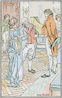 0528751 © Granger - Historical Picture ArchivePRIDE AND PREJUDICE.   'Mr Darcy, you must allow me to present this young lady to you as a very desirable partner.' Illustration by H.M. Brock for a 1906 edition of 'Pride and Prejudice' by Jane Austen.