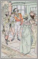 0528753 © Granger - Historical Picture ArchivePRIDE AND PREJUDICE.   'Mr. Denny entreated to introduce his friend, Mr. Wickham.' Illustration by H.M. Brock for a 1906 edition of 'Pride and Prejudice' by Jane Austen.