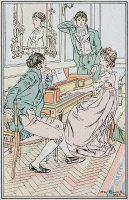 0528756 © Granger - Historical Picture ArchivePRIDE AND PREJUDICE.   'And moving with his usual deliberation towards the piano-forte, stationed himself so as to command a full view of the performer's countenance.' Illustration by H.M. Brock for a 1906 edition of 'Pride and Prejudice' by Jane Austen.