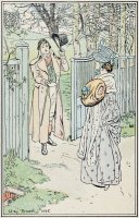 0528758 © Granger - Historical Picture ArchivePRIDE AND PREJUDICE.   'He had by that time reached the gate and holding out a letter, said-' Illustration by H.M. Brock for a 1906 edition of 'Pride and Prejudice' by Jane Austen.