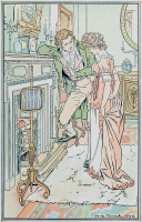 0528762 © Granger - Historical Picture ArchivePRIDE AND PREJUDICE.   'On opening the door, she perceived her sister and Bingley standing together over the hearth.'  Illustration by H.M. Brock for a 1906 edition of 'Pride and Prejudice' by Jane Austen.