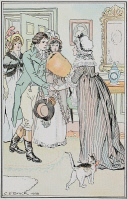 0528768 © Granger - Historical Picture ArchiveSENSE AND SENSIBILITY.   'He received the kindest welcome from her; and shyness, coldness, reserve, could not stand against such a reception.'  Illustration by C.E. Brock, published in a 1906 edition of 'Sense and Sensibility' by Jane Austen.