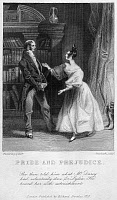 0528771 © Granger - Historical Picture ArchivePRIDE AND PREJUDICE.   'She then told him what Mr. Darcy had voluntarily done for Lydia. He heard her with astonishment.'  Engraving from an 1833 edition of 'Pride and Prejudice' by Jane Austen.