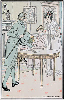 0528774 © Granger - Historical Picture ArchiveJANE AUSTEN: EMMA.    'He called for a few moments, just to leave a piece of paper on the table.' Illustration by C.E. Brock, published in a 1906 edition of 'Emma' by Jane Austen.