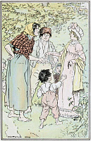 0528780 © Granger - Historical Picture ArchiveJANE AUSTEN: EMMA.   'Taking out her purse, she gave them a shilling, and begged them not to want more.' Illustration by C.E. Brock, published in a 1906 edition of 'Emma' by Jane Austen.