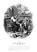 0622438 © Granger - Historical Picture ArchiveDICKENS: DOMBEY AND SON.   Illustration by Felix O.C. Darley for Charles Dickens's 'Dombey and Son,' showing Captain Cuttle taking the pulse of Florence. Engraving by Stephen Alonzo Schoff, c1873.