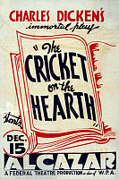 0622443 © Granger - Historical Picture ArchiveTHE CRICKET ON THE HEARTH.   Poster for a performance of Charles Dickens's 'The Cricket on the Hearth,' presented by the Federal Theatre Project, c1938.