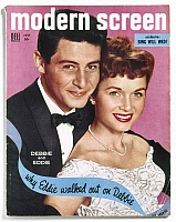 0116441 © Granger - Historical Picture ArchiveCELEBRITY MAGAZINE, 1955.   Cover of the July 1955 issue of 'Modern Screen' magazine, featuring singer Eddie Fisher and actress Debbie Reynolds.