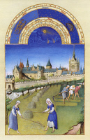 0011823 © Granger - Historical Picture ArchiveBOOK OF HOURS: JUNE.   Mowing, raking, and stacking hay on the outskirts of Paris in June. Illumination from the 15th century manuscript of the 'Tres Riches Heures' of Jean, Duke of Berry.