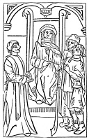 0034618 © Granger - Historical Picture ArchivePIERRE PATHELIN.   Pathelin, Joceaume, and Aignelet in court. Woodcut from a French edition of the popular theatrical farce, 'La Farce de maître Pierre Pathelin,' 1490.