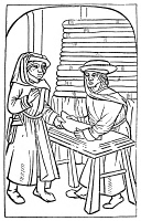 0079376 © Granger - Historical Picture ArchiveMAITRE PIERRE PATHELIN.   Pathelin, the lawyer, tricking the close-fisted draper, Joceaume, out of a piece of cloth. Woodcut from a French edition of the popular theatrical farce, 1490.