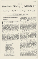 0038974 © Granger - Historical Picture ArchiveNY WEEKLY JOURNAL, 1735.   Front page of John Peter Zenger's 'New York Weekly Journal' of 18 August 1735, the issue published following the celebrated trial, which announced the vindication of a free press.