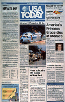 0115451 © Granger - Historical Picture ArchiveUSA TODAY, 1982.   Front page of the first issue of 'USA Today,' 15 September 1982, featuring a report on the death the previous day of Princess Grace of Monaco.