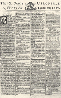 0124443 © Granger - Historical Picture ArchiveST. JAMES'S CHRONICLE.   Front page of a January 1774 issue of 'The St. James's Chronicle; or, British Evening-Post,' with news from Boston and Parliamentary minutes.