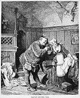 0011976 © Granger - Historical Picture ArchiveSHAKESPEARE: MERRY WIVES. Falstaff and Mrs Ford, from William Shakespeare's 'The Merry Wives of Windsor.' Engraving, 19th century.